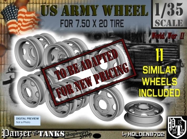 1-35 GMC 750x20 Empty Wheels Set5 3d printed