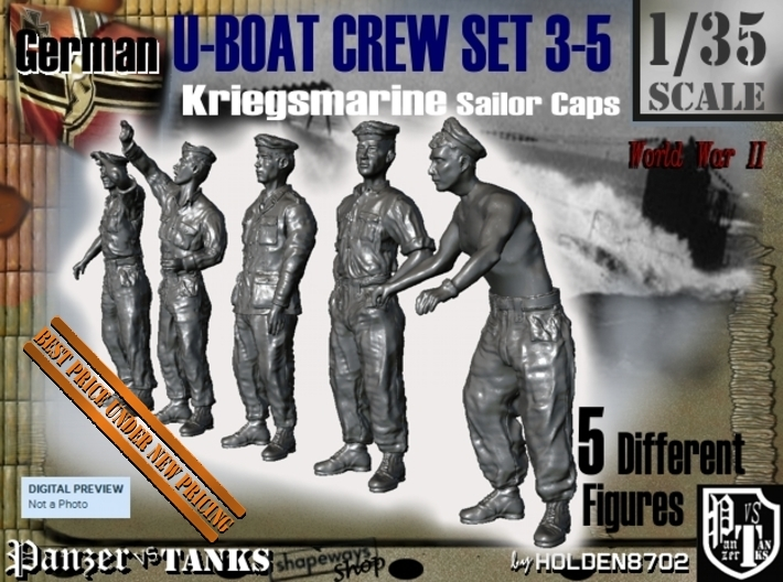 1-35 German U-Boot Crew Set3-5 3d printed