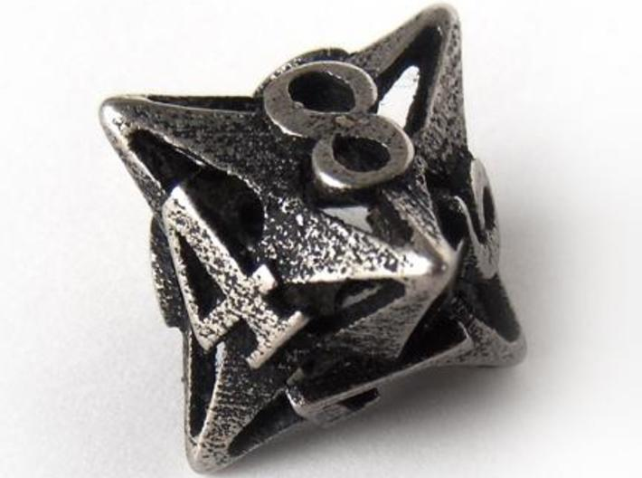 Pinwheel Die8 3d printed In stainless steel and inked
