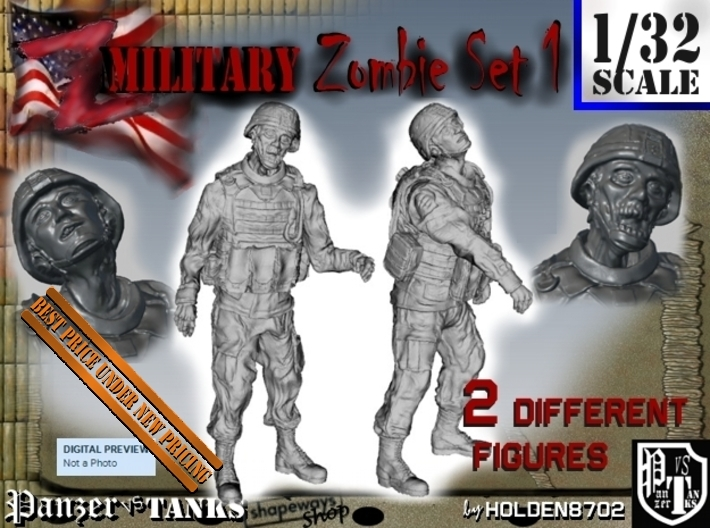 1-32 Military Zombie Set 1 3d printed