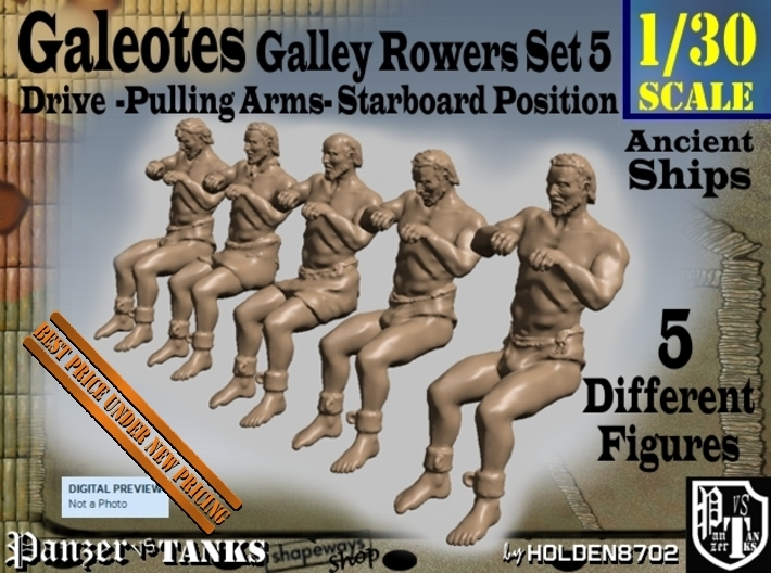 1-30 FIVE ROWERS LEFT SET5 3d printed