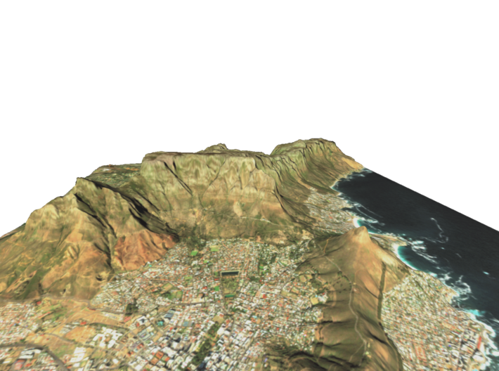 "Table Mountain Map: 8.5""x11"" Portrait 3d printed"