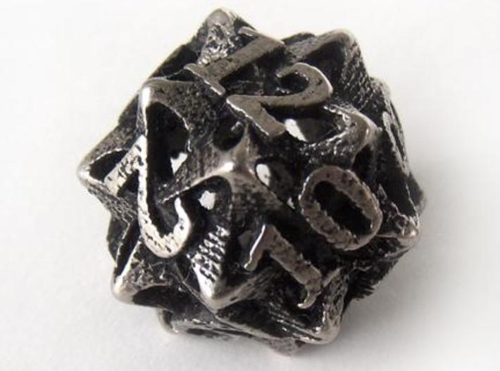 Pinwheel d12 3d printed In stainless steel and inked