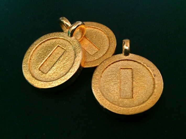Mario Coin Pendant/Keychain 3d printed Polished Gold Steel