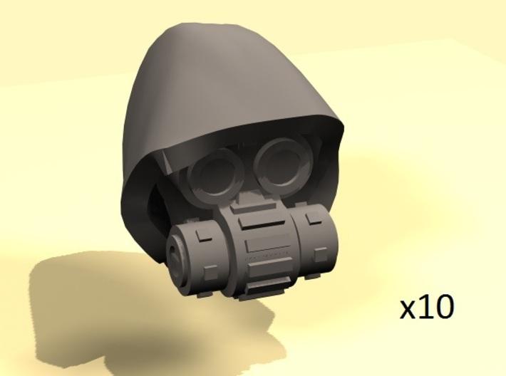 28mm Techno cult cyborg heads 3d printed