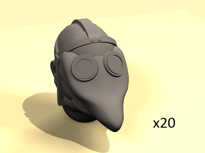 Primitive gas mask bold heads (20) 3d printed