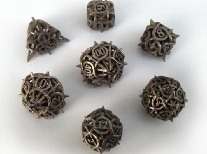 Thorn Dice Set with Decader, 7 Piece Die Set 3d printed In stainless steel