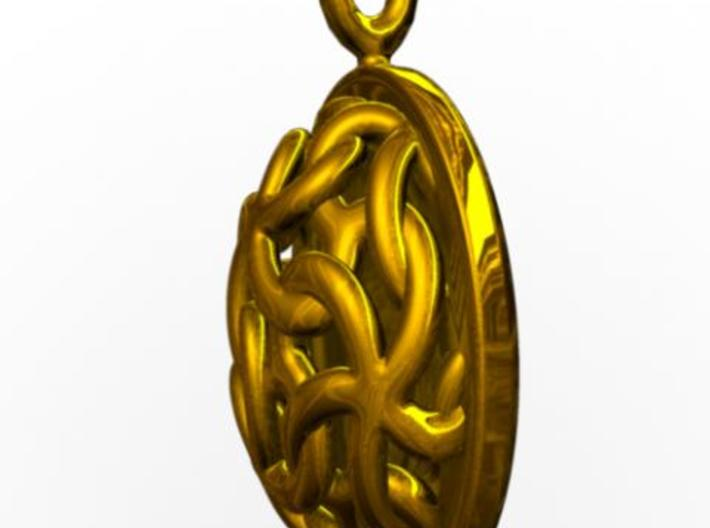 Linked Stars Pendant 3d printed Side view rendered in gold with Maya.