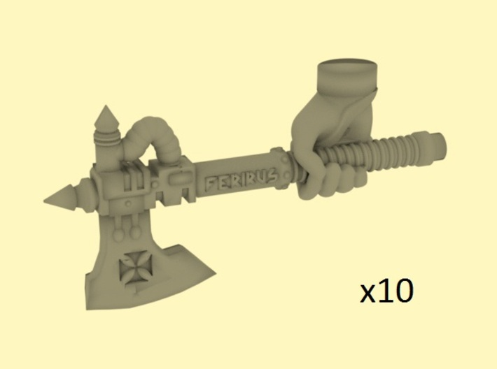 28mm Steampunk axes with human hand 3d printed