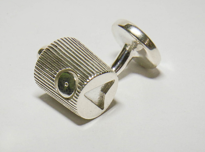 Spray Cap Cufflinks 3d printed Photo of finished print in premium silver.
