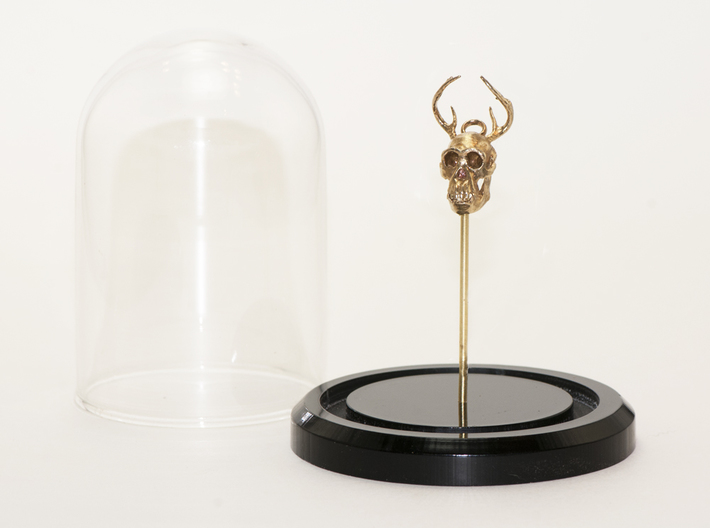Buck-Chimp Fantasy Pendant 3d printed Brass with belljar (sold separately)