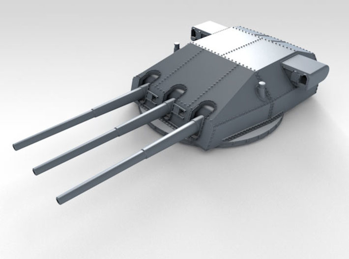 "1/570 DKM Gneisenau Turrets 28cm (11"") 1936 3d printed Render showing Bruno  turret detail"