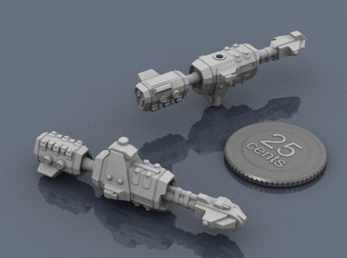 USASF Destroyer 3d printed Renders of the model, plus a virtual quarter for scale.