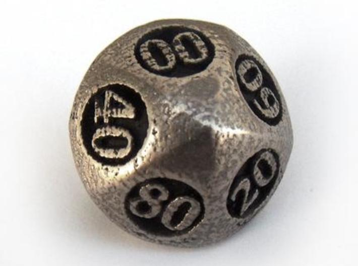 Overstuffed Decader d10 3d printed In stainless steel and inked