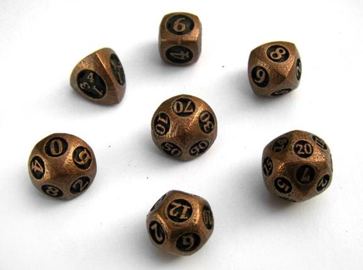 Overstuffed Dice Set with Decader 3d printed In antique bronze glossy and inked