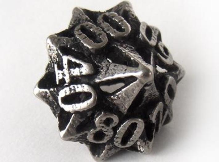 Pinwheel Decader d10 3d printed In stainless steel and inked