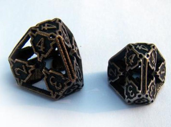 Large Premier d4 3d printed Compared to the standard-sized Die4