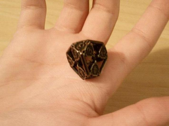 Large Premier Die4 3d printed In antique bronze glossy and inked.