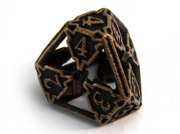 Large Premier Die4 3d printed In antique bronze glossy and inked