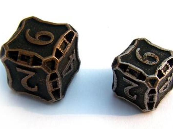Large Die6 3d printed Compared to a standard-sized Die6