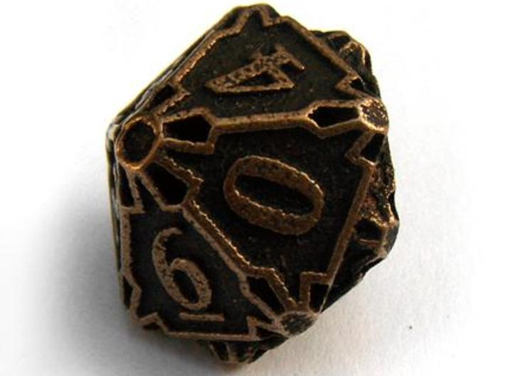 Large Die10 3d printed In antique bronze glossy and inked