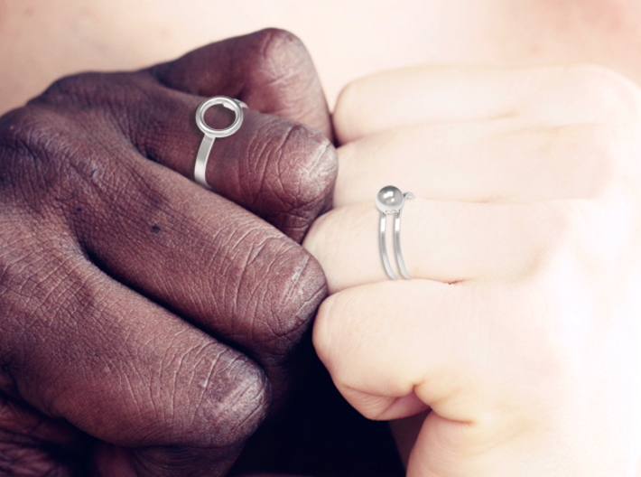 Nesting Melancholia Rings 3d printed Share the ring with a loved one...