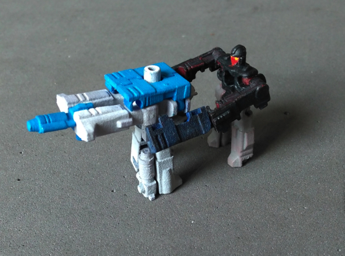 "MicroSlinger ""Squall"" 3d printed Weapon mode, combined with Uproar to form a gun turret, here manned by Flarestorm (Uproar and Flarestorm sold separately)."