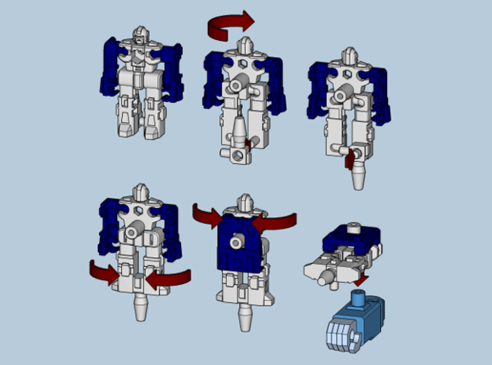 """MicroSlinger """"Mayhem"""" 3d printed Convert from robot mode into weapon with 5mm hole mount."""