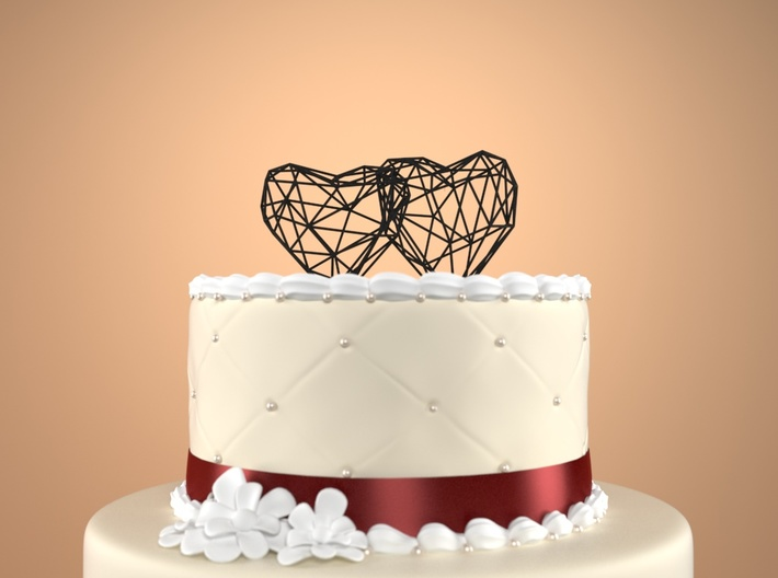 Open 3D Hearts Cake topper 3d printed