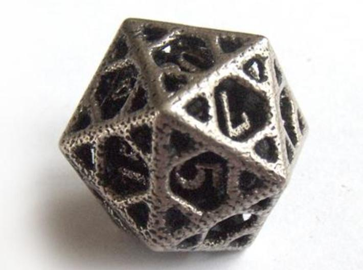 Cage d20 3d printed In stainless steel and inked