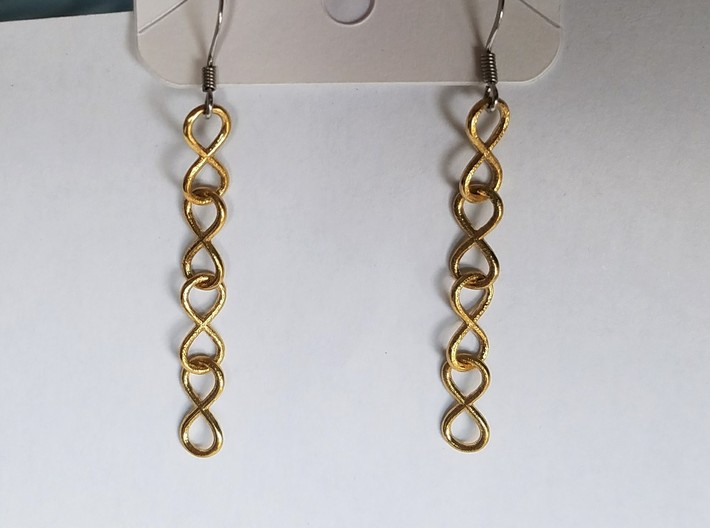 Infinity Chain Earrings 3d printed The Raw Brass looks amazing!