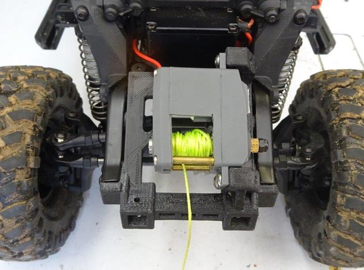 Servo Winch and Bumper Mount for Traxxas TRX-4 3d printed Pre-production prototype shown with internal spool winch instlaled