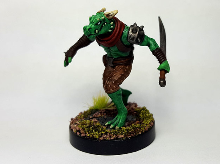 Dragonborn Scout 3d printed Painted with acrylic paints. Mounted on a 1 inch base