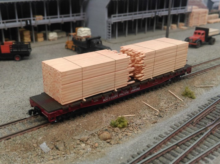 N  Lumber Load For 1 Flat Car: WOT, MTL, Athearn 3d printed Wheels of TIme