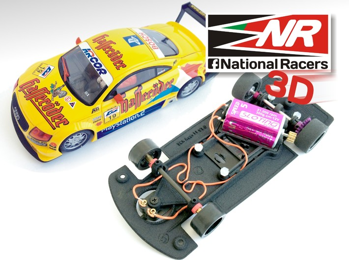 3D Chassis - SCX Audi TT (Combo) 3d printed Chassis compatible with SCX model (slot car and other parts not included)