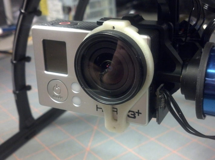 Tarot T-2D GoPro Gimbal Clamp for Lens Protectors 3d printed Installed