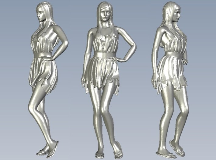 1/24 scale dressed beach girl posing figure A 3d printed