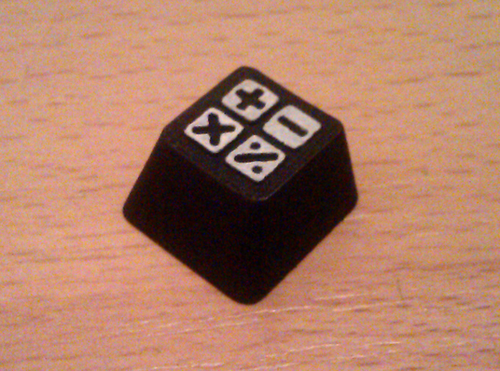 Cherry MX Calculator Keycap 3d printed The real thing dyed black with its details hand-painted white