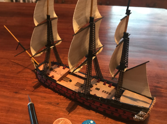 1/300 Frigate Mast Set V1 3d printed A finished ship, ready for action.