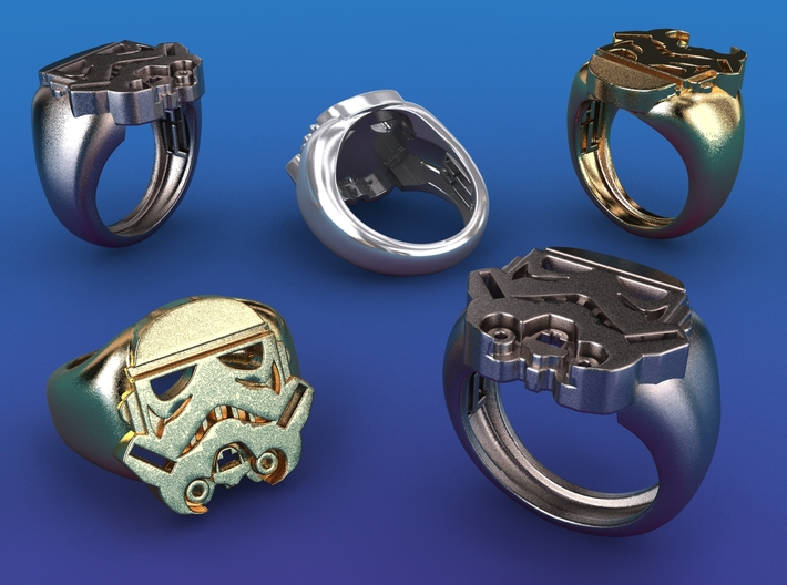 Strooper Ring - size 14 (US) 3d printed Stainless steel, gold plated mate & premium silver renderings
