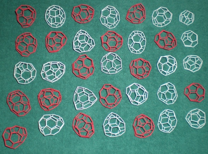 19 small achiral fullerenes 3d printed The red forms are chiral, sold separately.