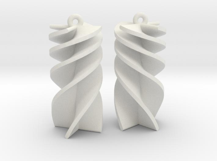 Exponential Rotini Earrings 3d printed
