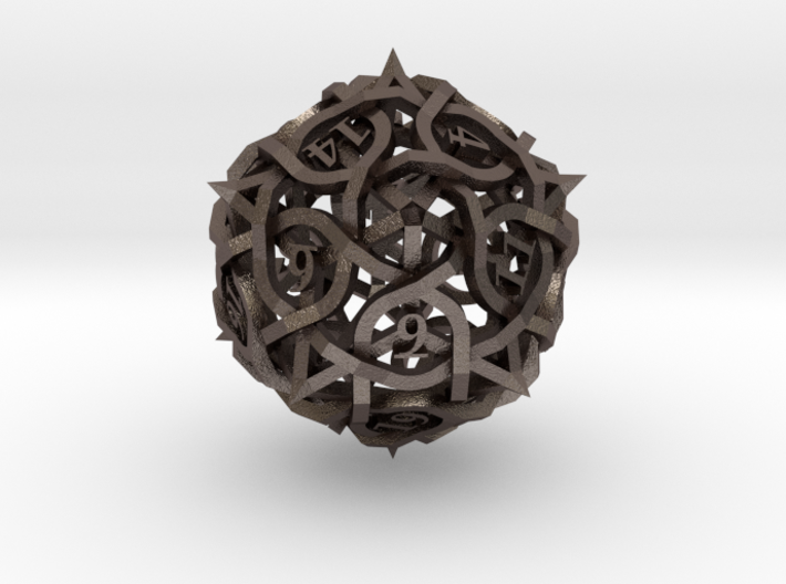 Interwoven Geometric Vines and Thorns D20 3d printed