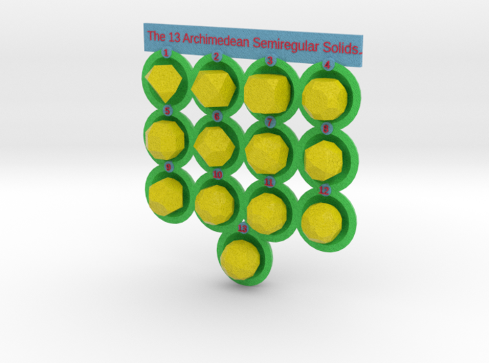 13 Archimedean Solids - colored 3d printed