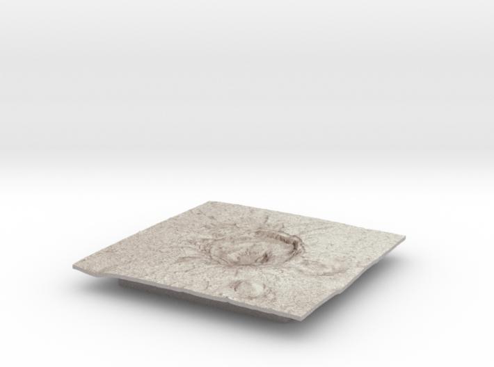 Mars Map: Crater in Phlegra Dorsa - Sepia 3d printed