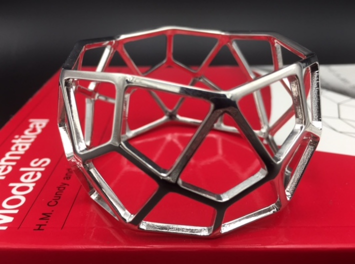 Catalan Bracelet - Deltoidal Hexecontahedron 3d printed Photo of finished product in  Rhodium Plated