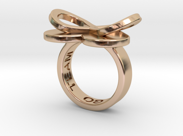 AMOUR in 14k rose gold plated 3d printed