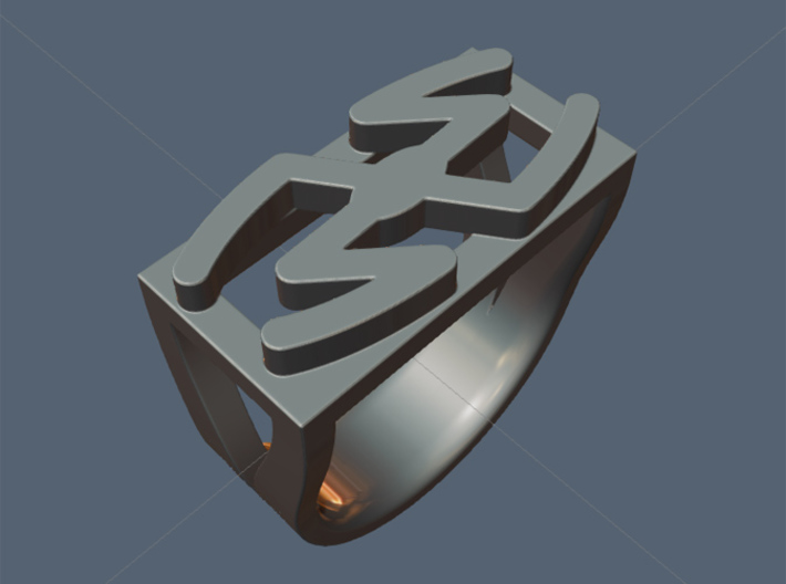 Cattle Brand Ring 3 - Size 9 1/2 (19.35 mm) 3d printed See Cattle Brand Ring 1 cast in silver.