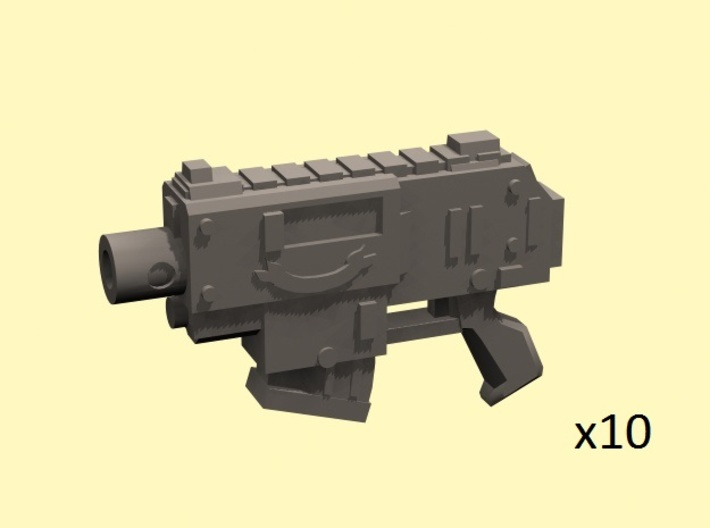 28mm SciFi Gyrojet Pistols (10) 3d printed