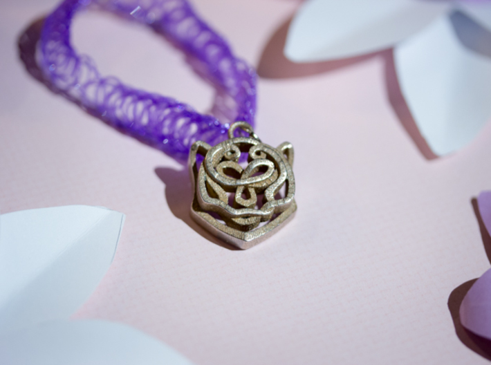 Celtic Snow Leopard Head Pendant 3d printed